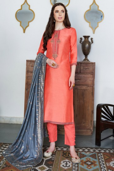 Orange Cotton Embroidered Casual Salwar Suit And Dupatta