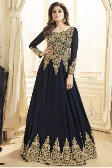 Shamita Shetty Charming Navy Blue Embroidered Work Anarkali Salwars Suit