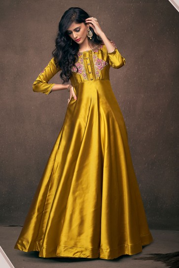 Ultimate Golden Satin and Silk Embroidered Designer Gown