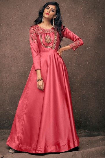 Desirable Pink Satin and Silk Embroidered Long Length Designer Gown