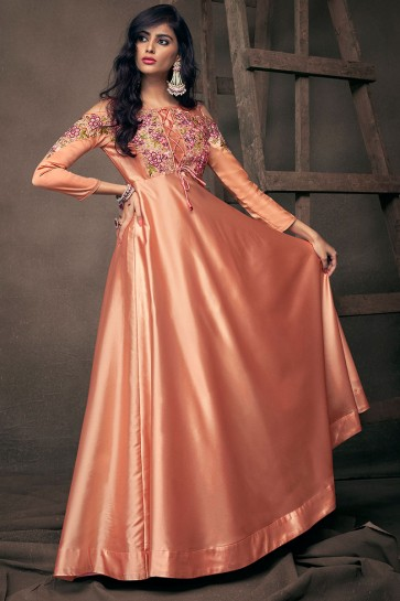Excellent Peach Satin and Silk Embroidered Long Length Designer Gown