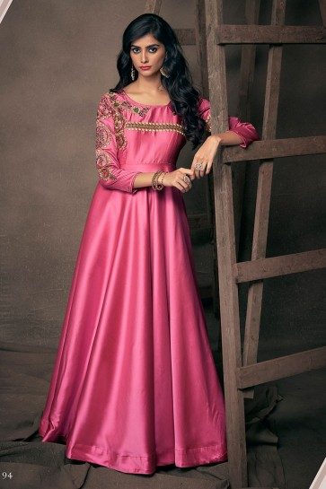 Beautiful Pink Satin and Silk Designer Embroidered Gown