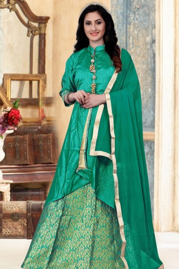 Desirable Green Banglori Silk Jaquard Work Designer Gown