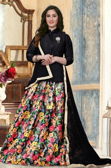 Pretty Black Banglori Silk Printed Long Length Designer Gown