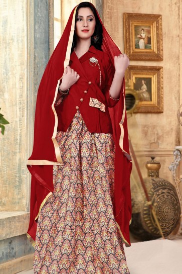 Optimum Maroon Banglori Silk Printed Long Length Designer Gown