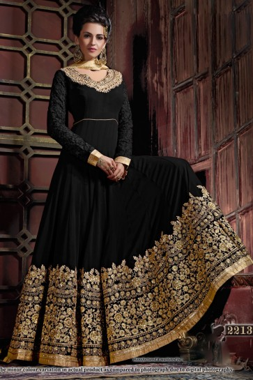 Beautiful Black Georgette Embroidered Anarkali Salwar Suit With Viscose Dupatta