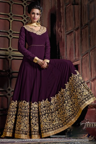 Lovely Purple Georgette Embroidered Anarkali Salwar Suit With Viscose Dupatta