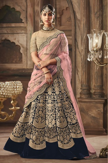 Excellent Navy Blue Banarasi Silk Embroidered Long Length Lehenga Choli