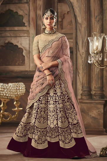 Desirable Maroon Banarasi Silk Embroidered Lehenga Choli