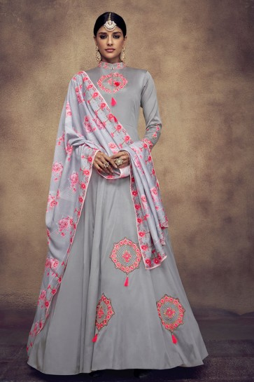 Ultimate Grey Satin and Silk Embroidered Anarkali Salwar Suit With Maslin Dupatta