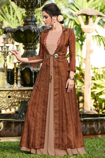 Marvelous Coffee Embroidered Designer Linen And Satin Fabric Gown