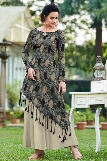 Embroidered Designer Black And Grey Tussar Silk Fabric Long Lenght Gown