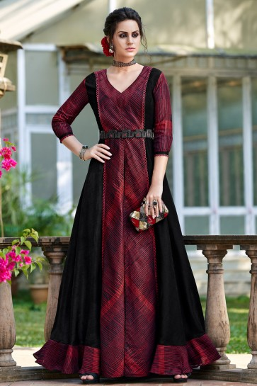 Embroidery Work Maroon And Black Tussar Silk Fabric Superb Gown