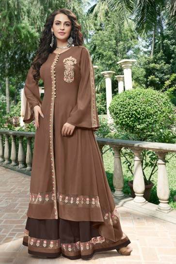 Lovely Coffee Organza Fabric Embroidered Designer Gown