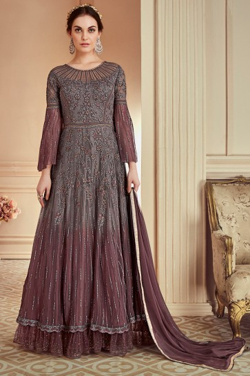 Net Fabric Coffee Embroidery And Thread Work Anarkali Suit With Nazmin Chiffon Dupatta
