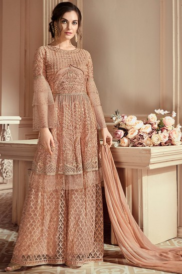 Embroidered Peach Gold Net Fabric Designer Plazzo Suit With Chiffon Dupatta
