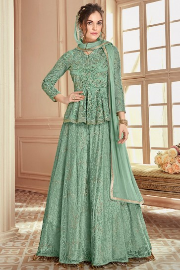 Appealing Thread Work And Embroidered Sea Green Net Lehenga Suit With Chiffon Dupatta