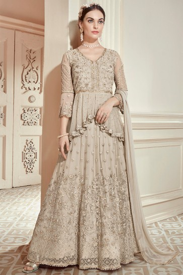 Desirable Off White Embroidered Designer Lehenga Suit With Nazmin Dupatta