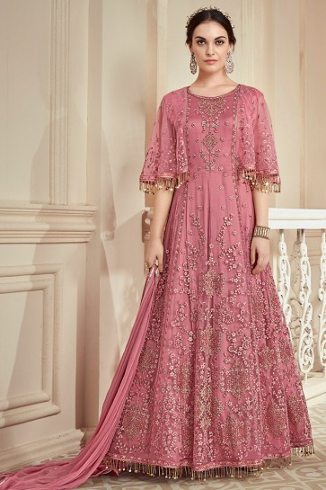 Pink Net Fabric Thread Work Designer Anarkali Suit And Santoon Bottom