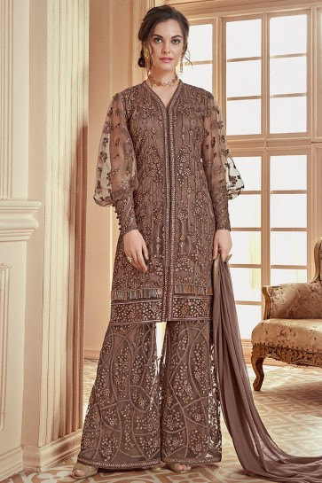 Thread Work Brown Net Fabric Stylish Plazzo Suit With Nazmin Dupatta