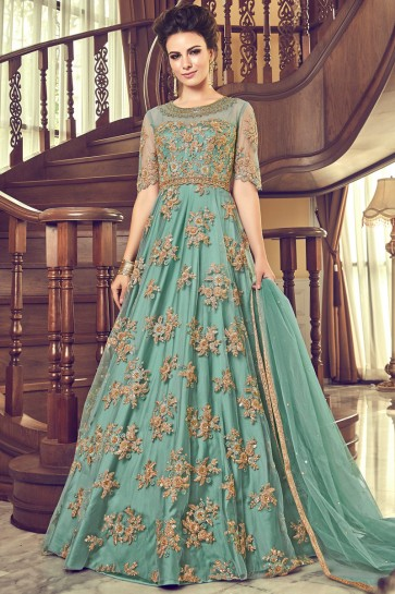 Embroidered And Diamond Work Sea Green Georgette Abaya Style Anarkali Suit With Net Dupatta