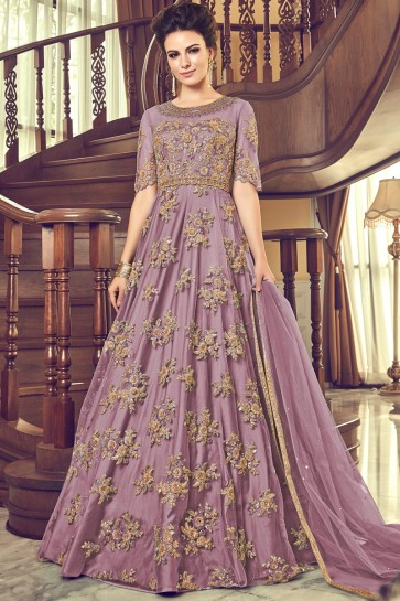 Party Wear Wine Embroidered Georgette Abaya Style Anarkali Suit With Net Dupatta