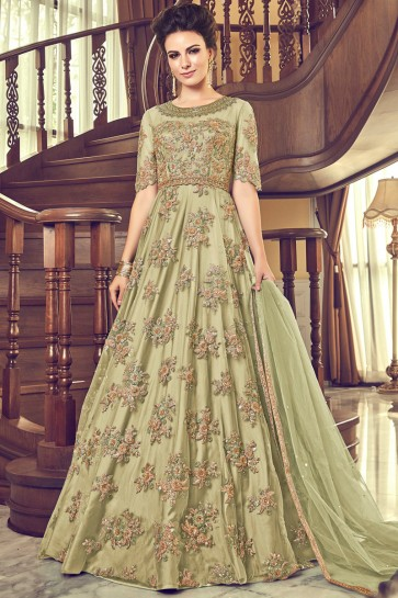 Graceful Georgette Stone Work Designer Pista Anarkali Suit And Santoon Bottom