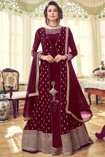 Party Wear Embroidered Georgette Abaya Style Anarkali Suit And Santoon Bottom