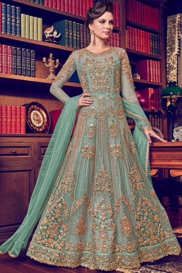 Diamond Work And Embroidered Light Green Abaya Style Anarkali Suit And Santoon Bottom