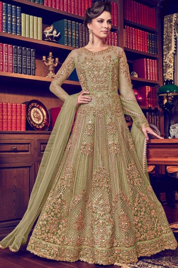 Embroidery And Stone Work Georgette Fabric Mehendi Green Anakali Suit With Net Dupatta