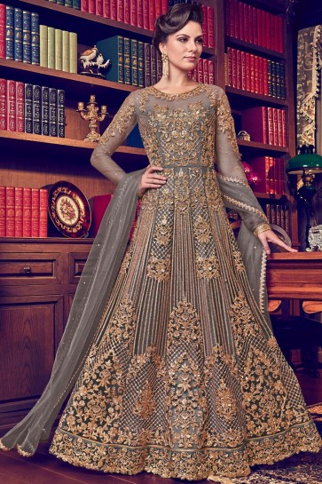 Georgette Fabric Diamond And Embroidery Work Grey Abaya Style Anarkali Suit