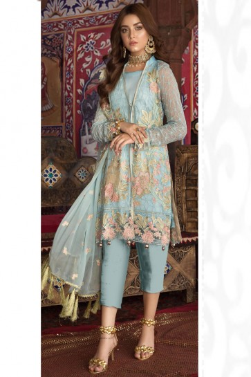 Delightful Sky Blue Embroidered And Lace Work Georgette Salwar Suit And Dupatta