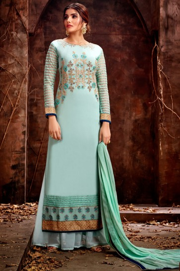 Elegant Embroidered Georgette Sky Blue Plazzo Suit With Chiffon Dupatta