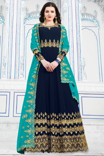 Party Wear Navy Blue Georgette Embroidered Designer Salwar Suit And Dupatta