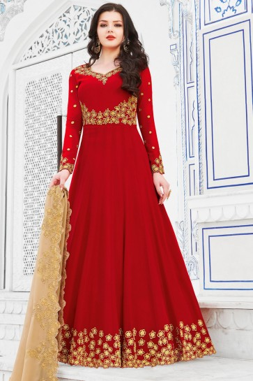 Gorgeous Red Embroidery Work Salwar Kameez With Georgette Dupatta
