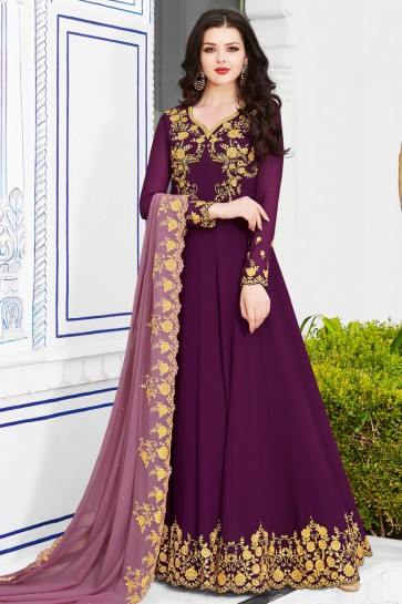 Excellent Embroidered Purple Georgette Salwar Suit And Dupatta