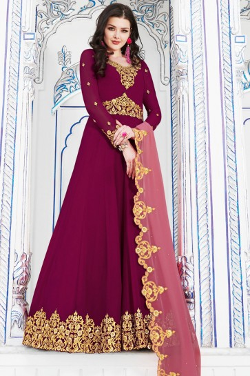 Desirable Magenta Embroidered Designer Salwar Suit With Georgette Dupatta