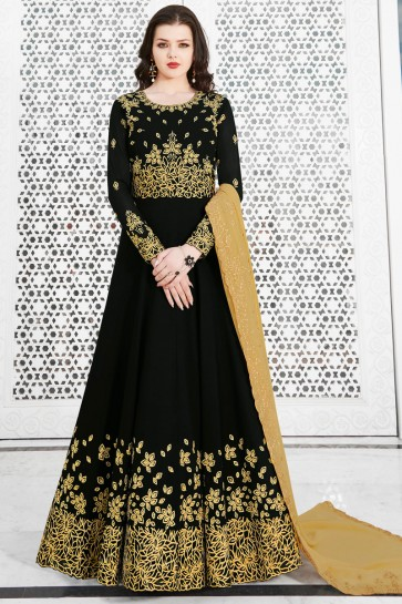 Beautiful Black Georgette Designer Embroidered Salwar Suit And Dupatta