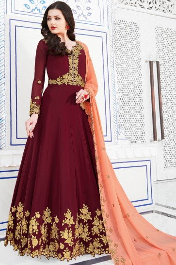 Dazzling Maroon Embroidery Work Salwar Suit With Georgette Dupatta