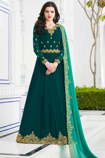Party Wear Georgette Sea Green Embroidered Salwar Kameez And Dupatta