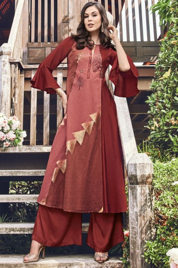 Heavy Designer Brown Embroidered And Printed Jacquard Plazzo Suit