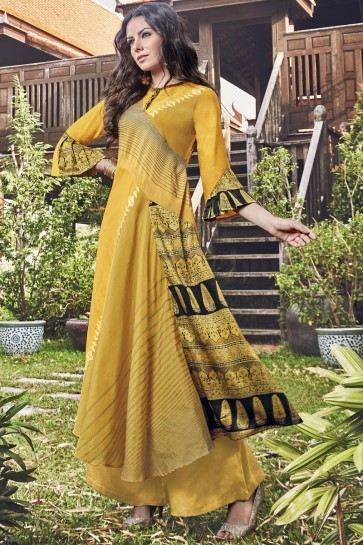 Stylish Yellow Jacquard Printed And Embroidered Plazzo Suit