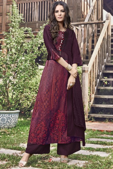 Stunning Maroon Embroidered And Printed Jacquard Plazzo Suit