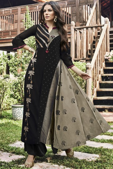 Gorgeous Black Embroidered And Printed Jacquard Plazzo Suit