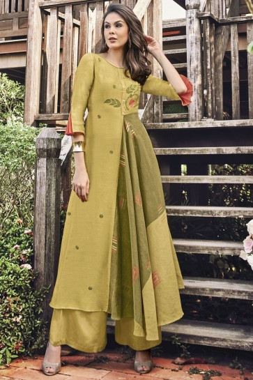 Delightful Mustard Jacquard Printed And Embroidered Plazzo Suit