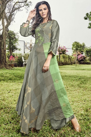Charming Embroidered And Printed Grey Jacquard Plazzo Suit