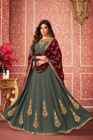 Embroidery Work Mehendi Green Georgette Abaya Style Anarkali Suit And Dupatta