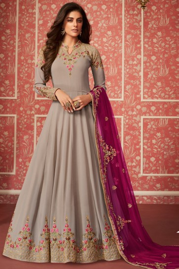 Admirable Georgette Grey Abaya Style Anarkali Suit With Embroidery Dupatta