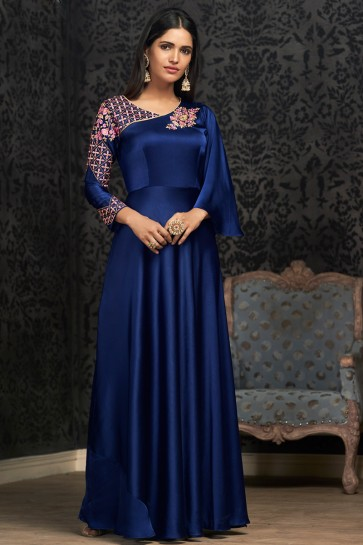 Party Wear Embroidered Royal Blue Silk Fabric Gown
