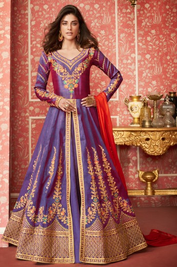 Excellent Silk Embroidered Purple Anarkali Suit With Nazmin Dupatta